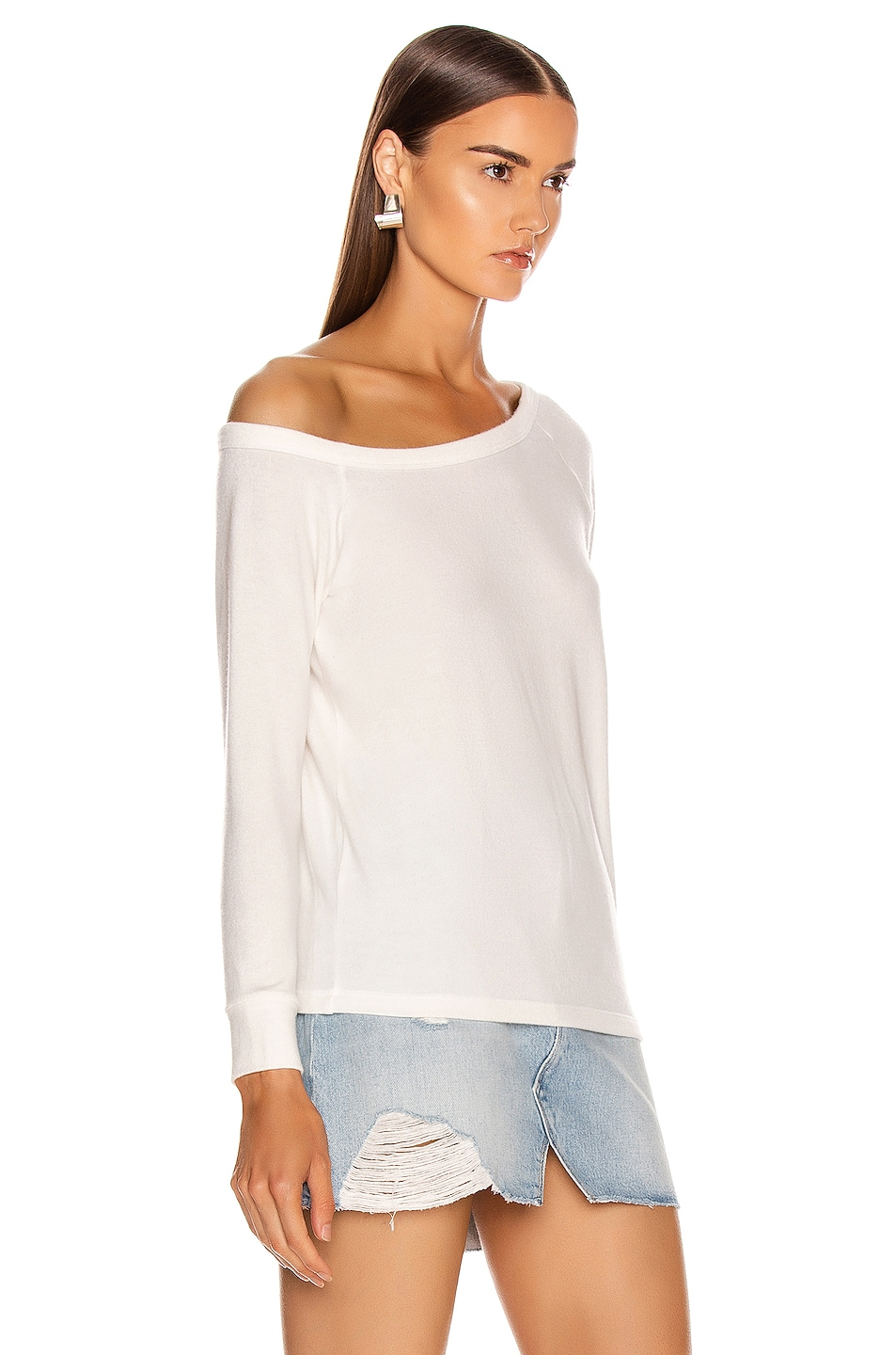 Image 2 of Enza Costa for FWRD Easy Off Shoulder Long Sleeve in White