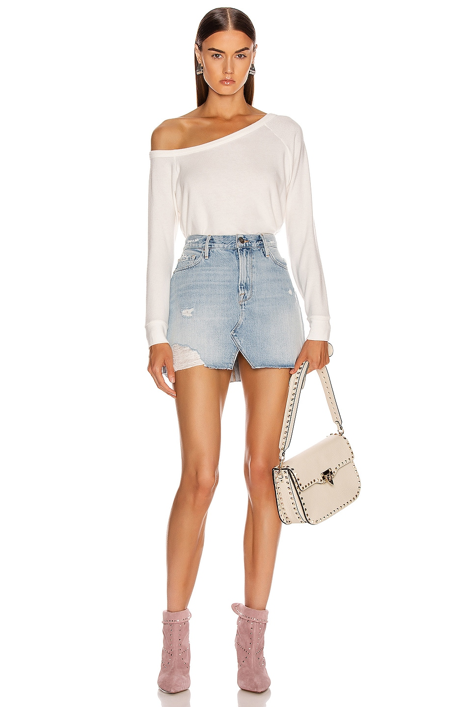 Image 4 of Enza Costa for FWRD Easy Off Shoulder Long Sleeve in White