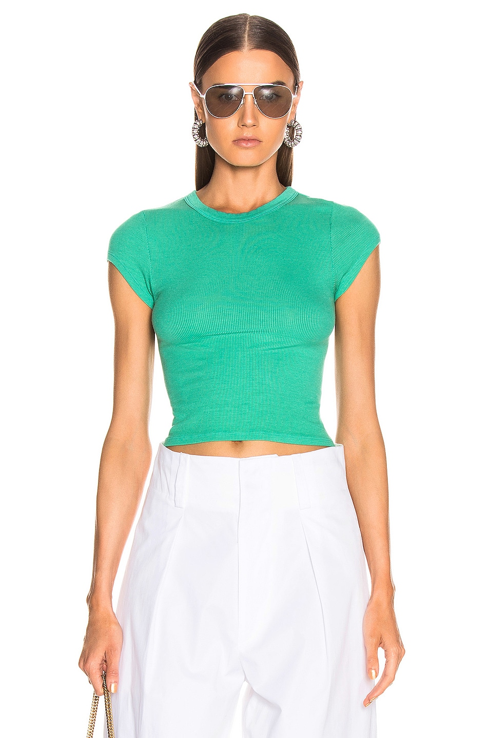 Image 1 of Enza Costa Cropped Tee in Jade Green