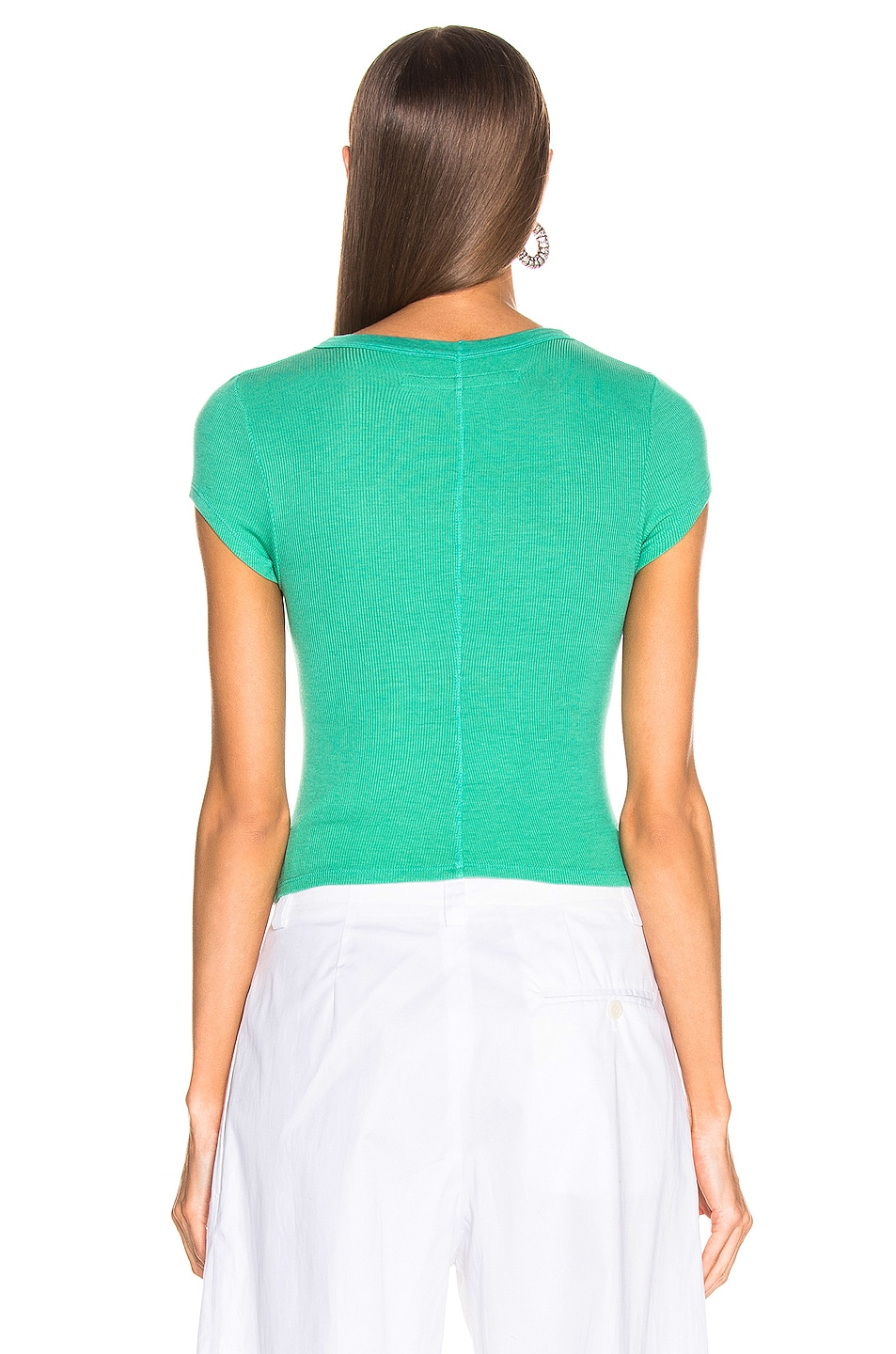 Image 3 of Enza Costa Cropped Tee in Jade Green