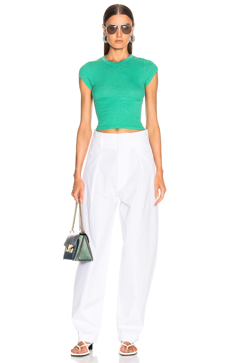 Image 4 of Enza Costa Cropped Tee in Jade Green
