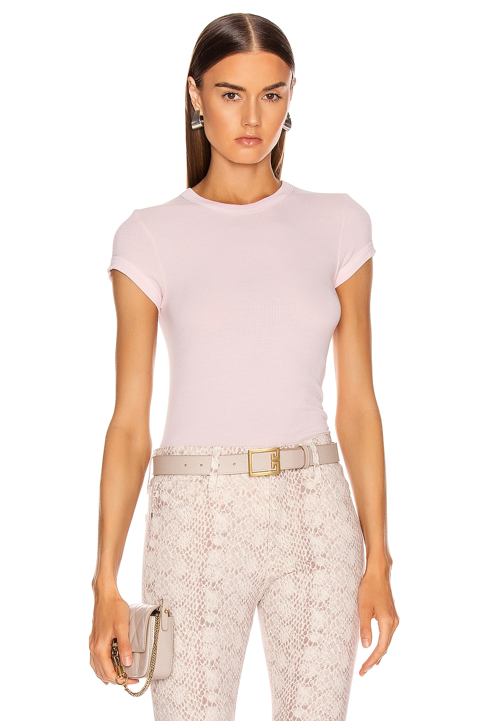Image 1 of Enza Costa Rib Cap Sleeve Tee in Peony