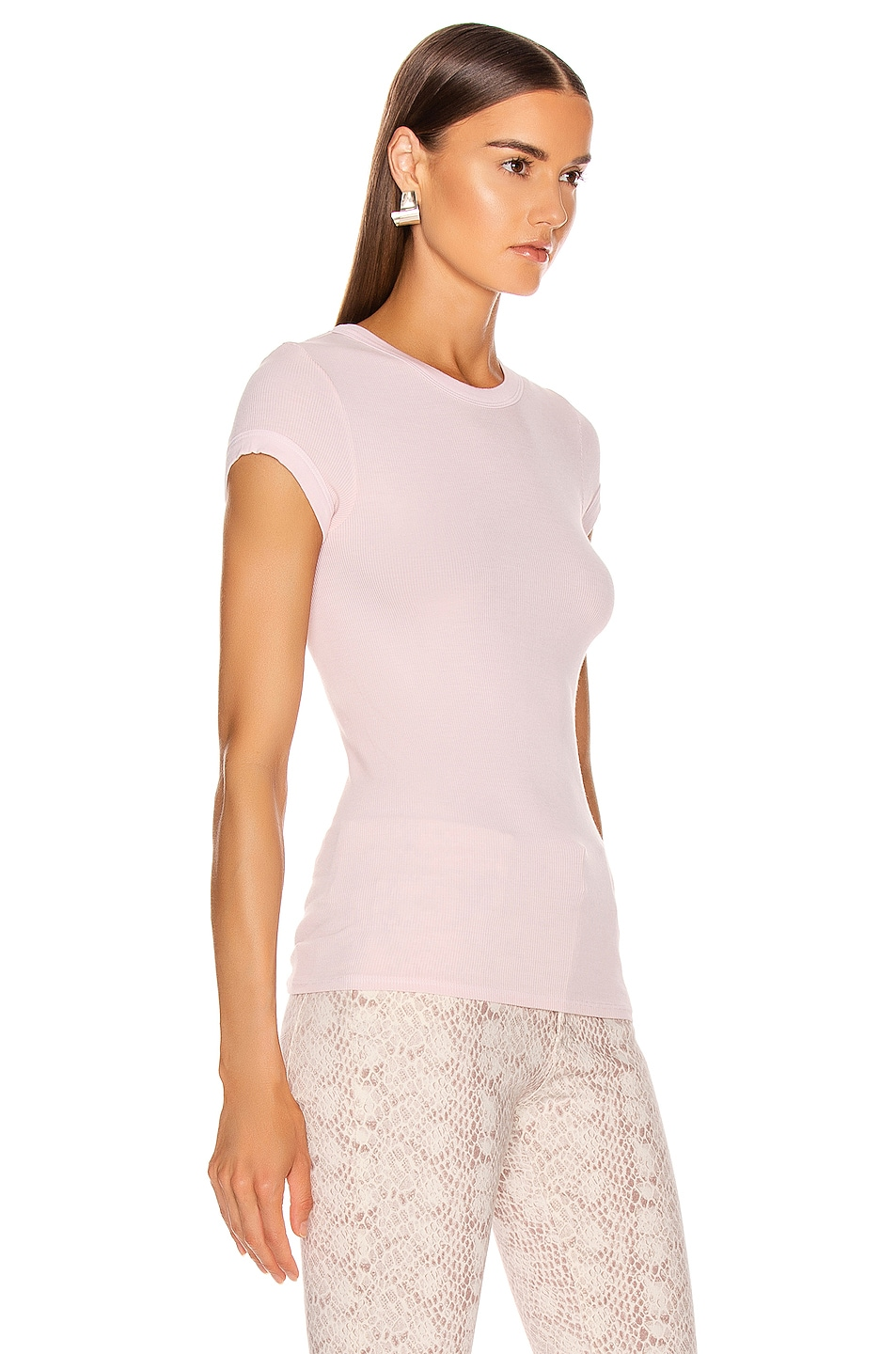 Image 2 of Enza Costa Rib Cap Sleeve Tee in Peony