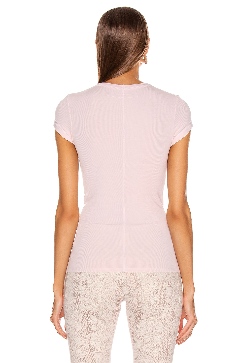 Image 3 of Enza Costa Rib Cap Sleeve Tee in Peony