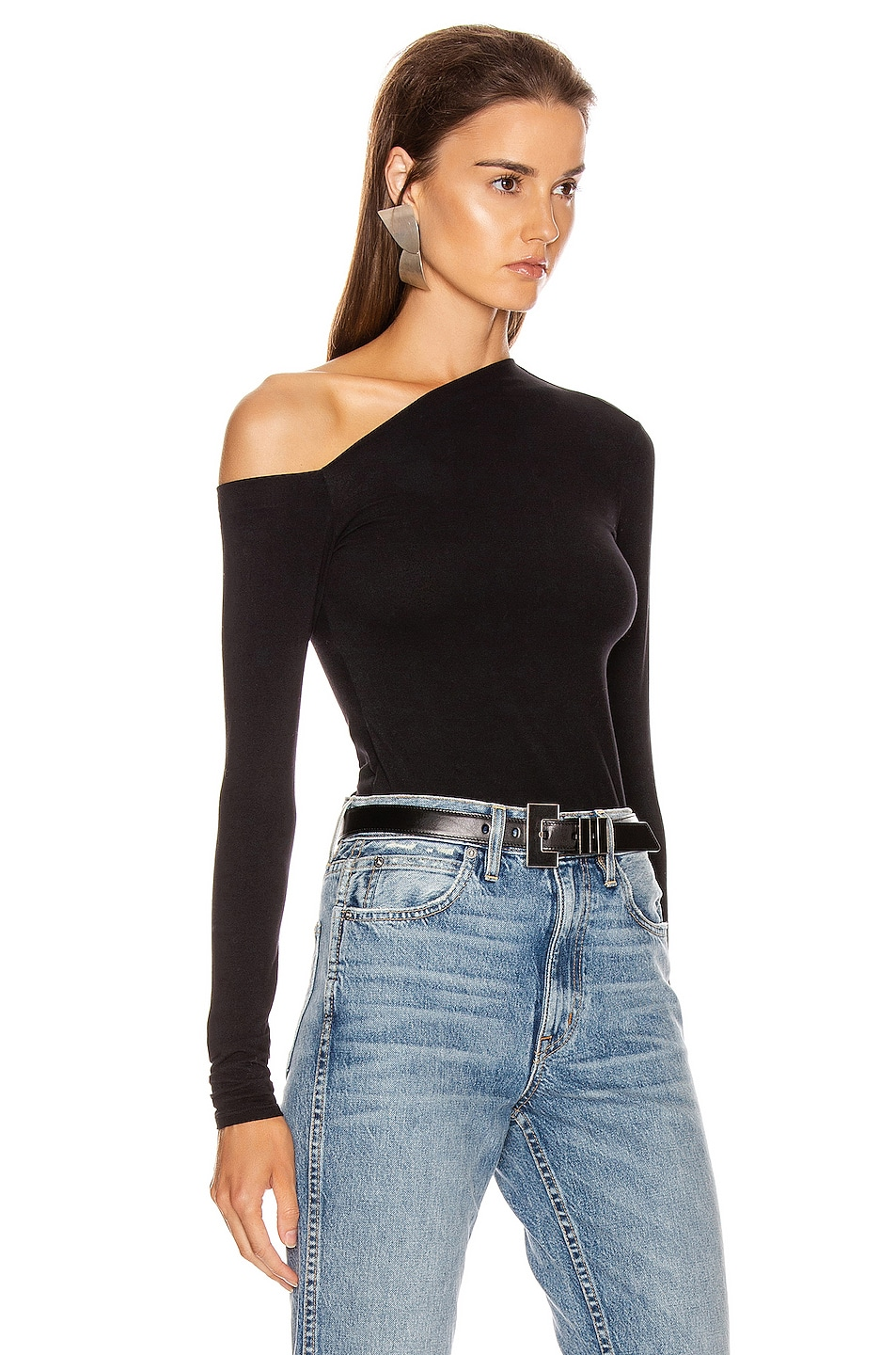 Image 2 of Enza Costa Angled Exposed Shoulder Long Sleeve Top in Black