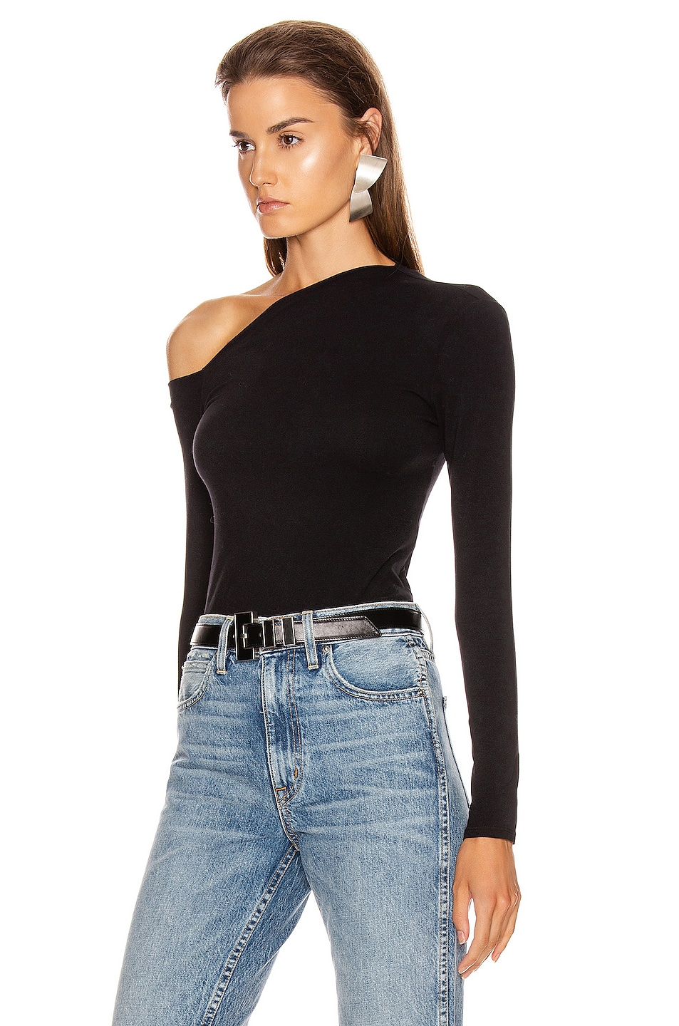 Image 3 of Enza Costa Angled Exposed Shoulder Long Sleeve Top in Black