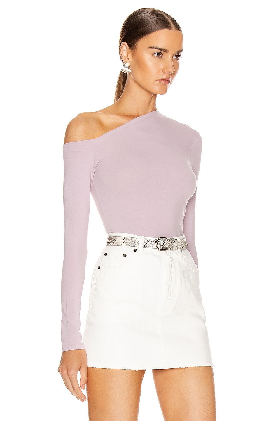 Image 2 of Enza Costa Angled Exposed Shoulder Long Sleeve Top in Pink Crystals