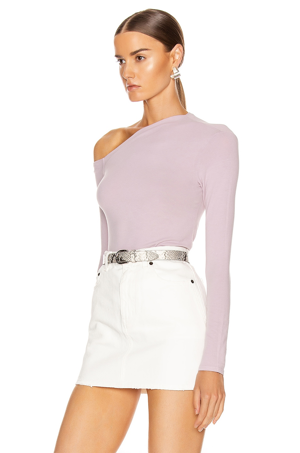 Image 3 of Enza Costa Angled Exposed Shoulder Long Sleeve Top in Pink Crystals