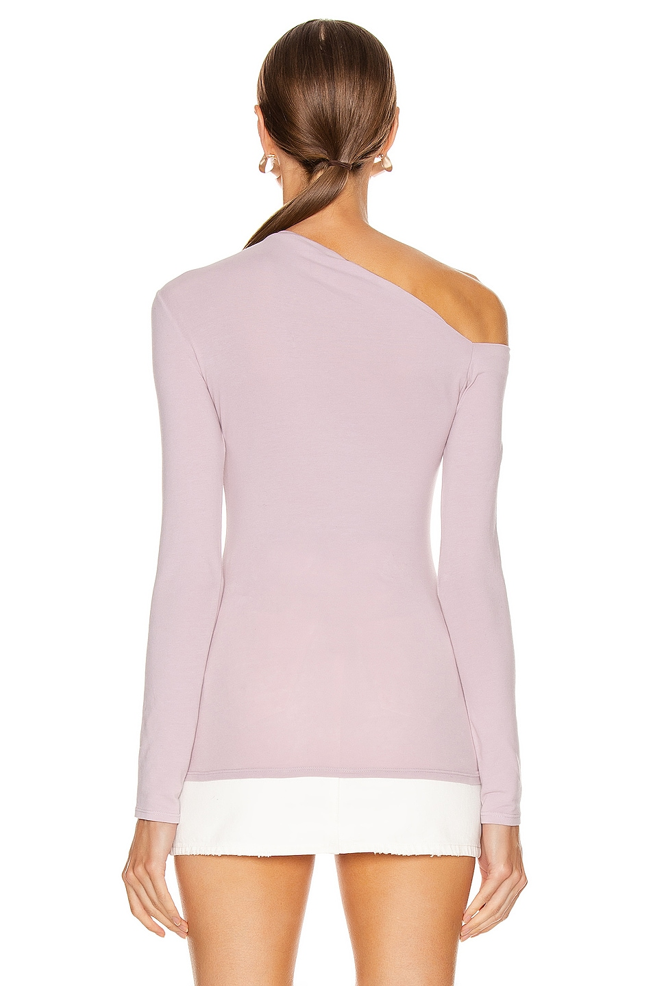 Image 4 of Enza Costa Angled Exposed Shoulder Long Sleeve Top in Pink Crystals