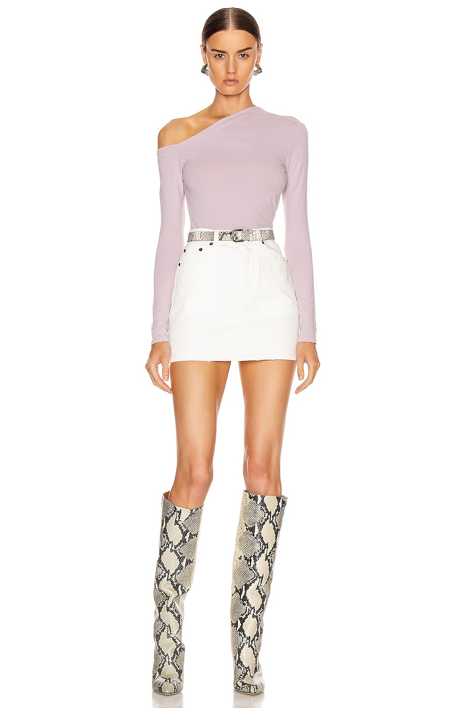 Image 5 of Enza Costa Angled Exposed Shoulder Long Sleeve Top in Pink Crystals