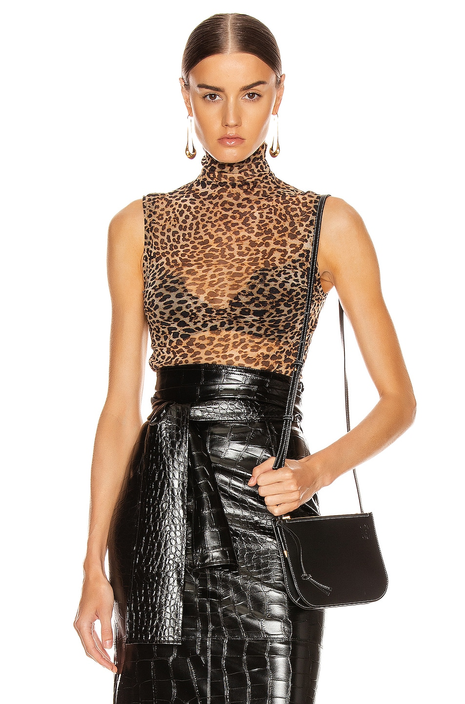 Image 1 of Enza Costa Mesh Sleeveless Turtleneck Top in Ocelot