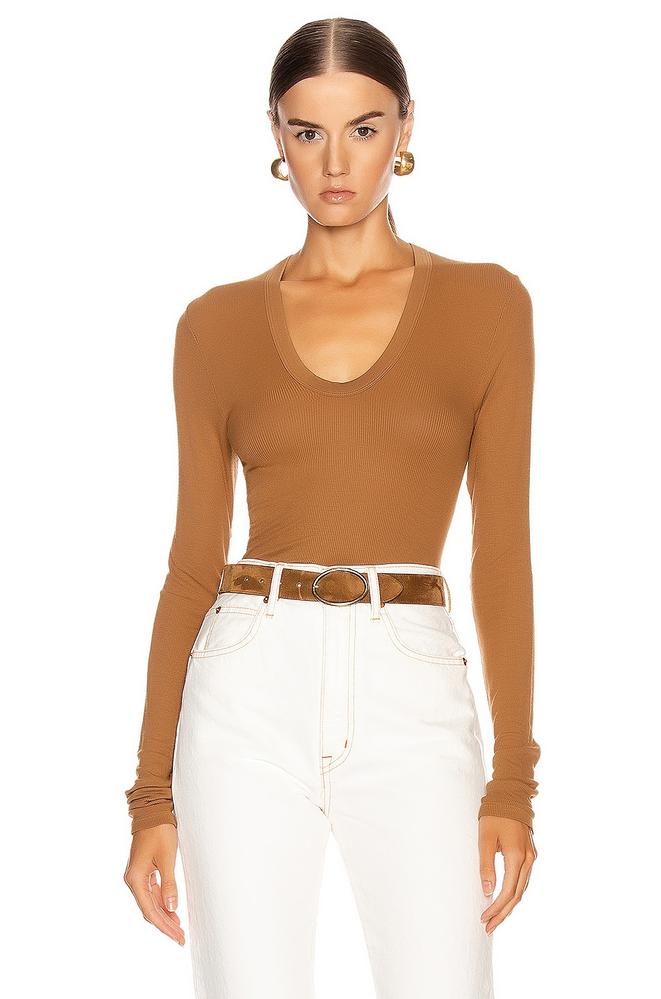 Image 1 of Enza Costa Rib Fitted Long Sleeve U Top in Danish Brown