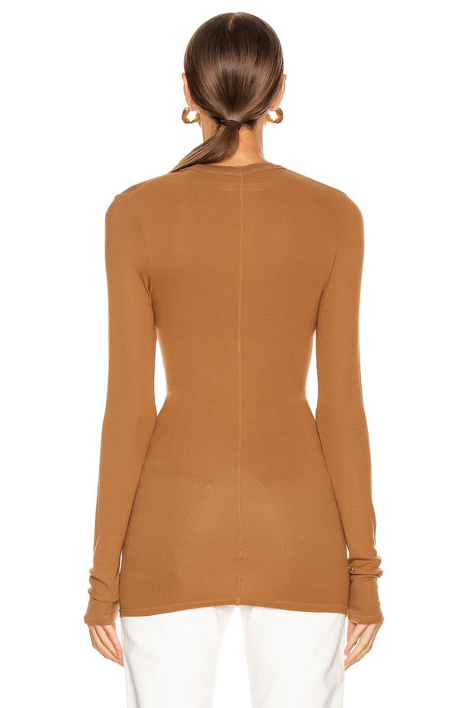 Image 3 of Enza Costa Rib Fitted Long Sleeve U Top in Danish Brown