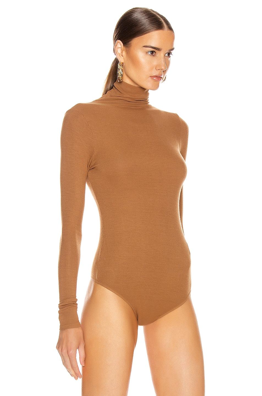 Image 3 of Enza Costa Rib Long Sleeve Turtleneck Bodysuit in Danish Brown