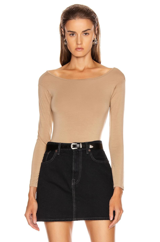 Image 1 of Enza Costa Italian Viscose Long Sleeve Off Shoulder Bodysuit in Tan