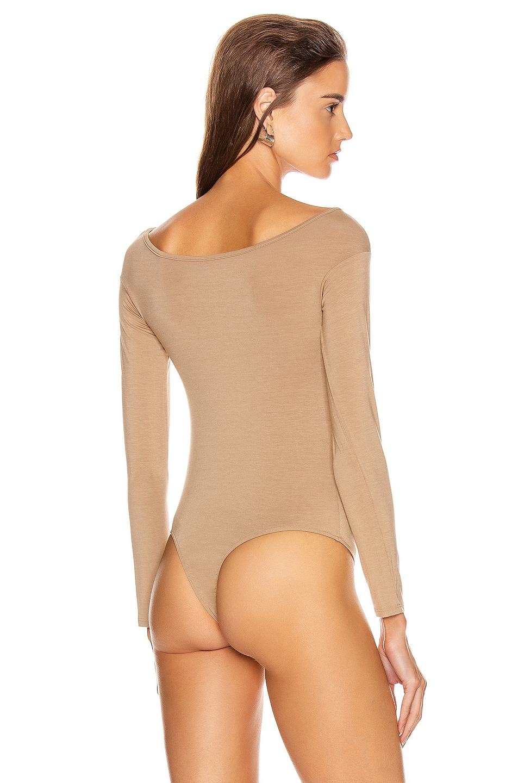 Image 4 of Enza Costa Italian Viscose Long Sleeve Off Shoulder Bodysuit in Tan