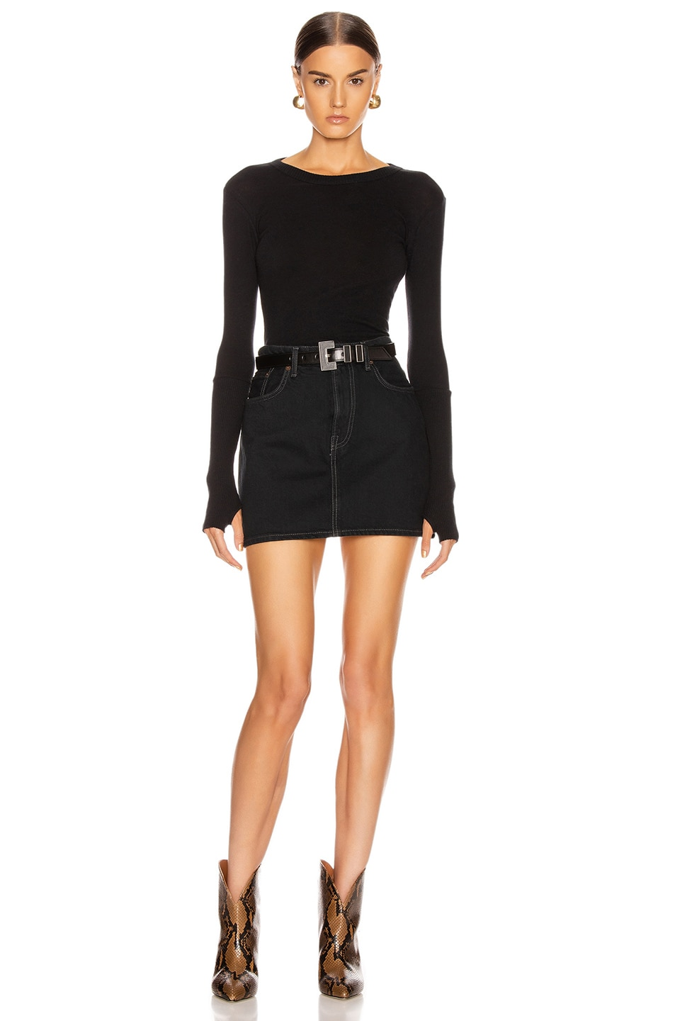 Image 5 of Enza Costa Cashmere Long Sleeve Crew Bodysuit in Black