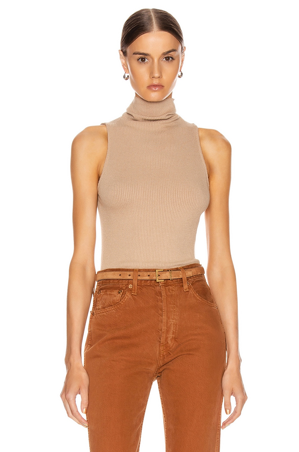 Image 1 of Enza Costa for FWRD Rib Sleeveless Turtleneck in Sandstone