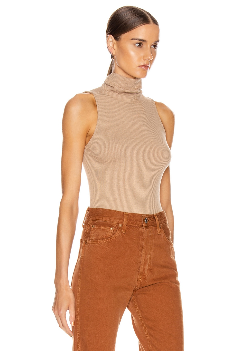 Image 2 of Enza Costa for FWRD Rib Sleeveless Turtleneck in Sandstone