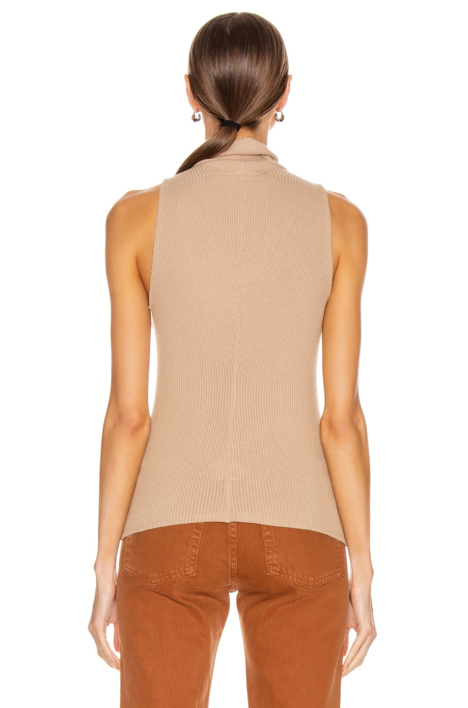 Image 3 of Enza Costa for FWRD Rib Sleeveless Turtleneck in Sandstone