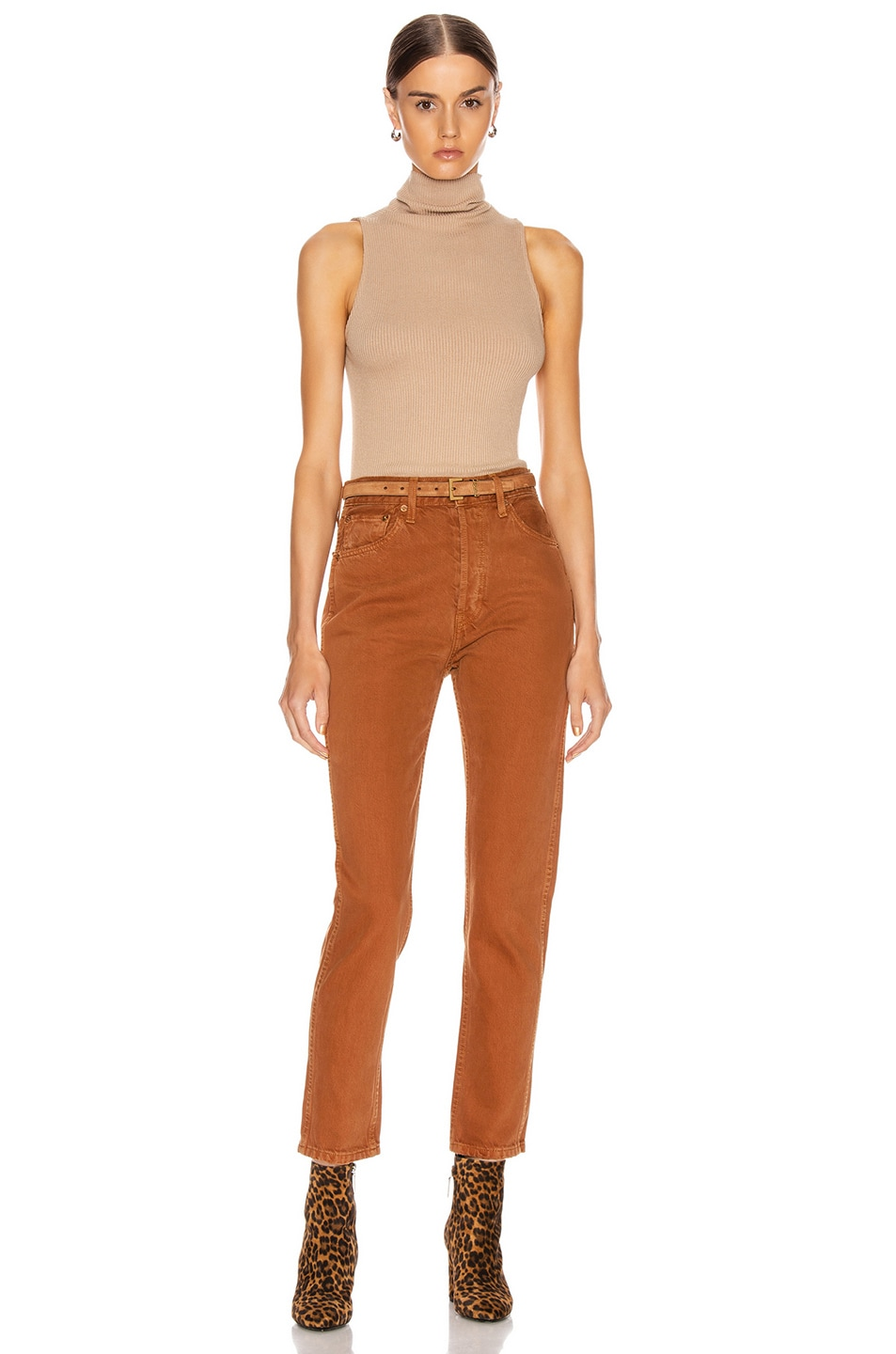 Image 4 of Enza Costa for FWRD Rib Sleeveless Turtleneck in Sandstone