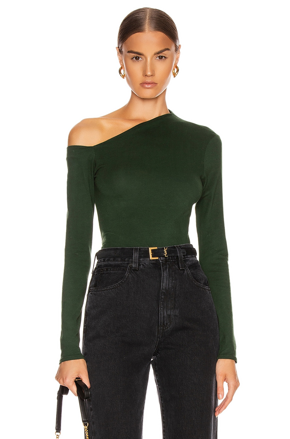 Image 1 of Enza Costa Angled Exposed Shoulder Long Sleeve Top in Evergreen