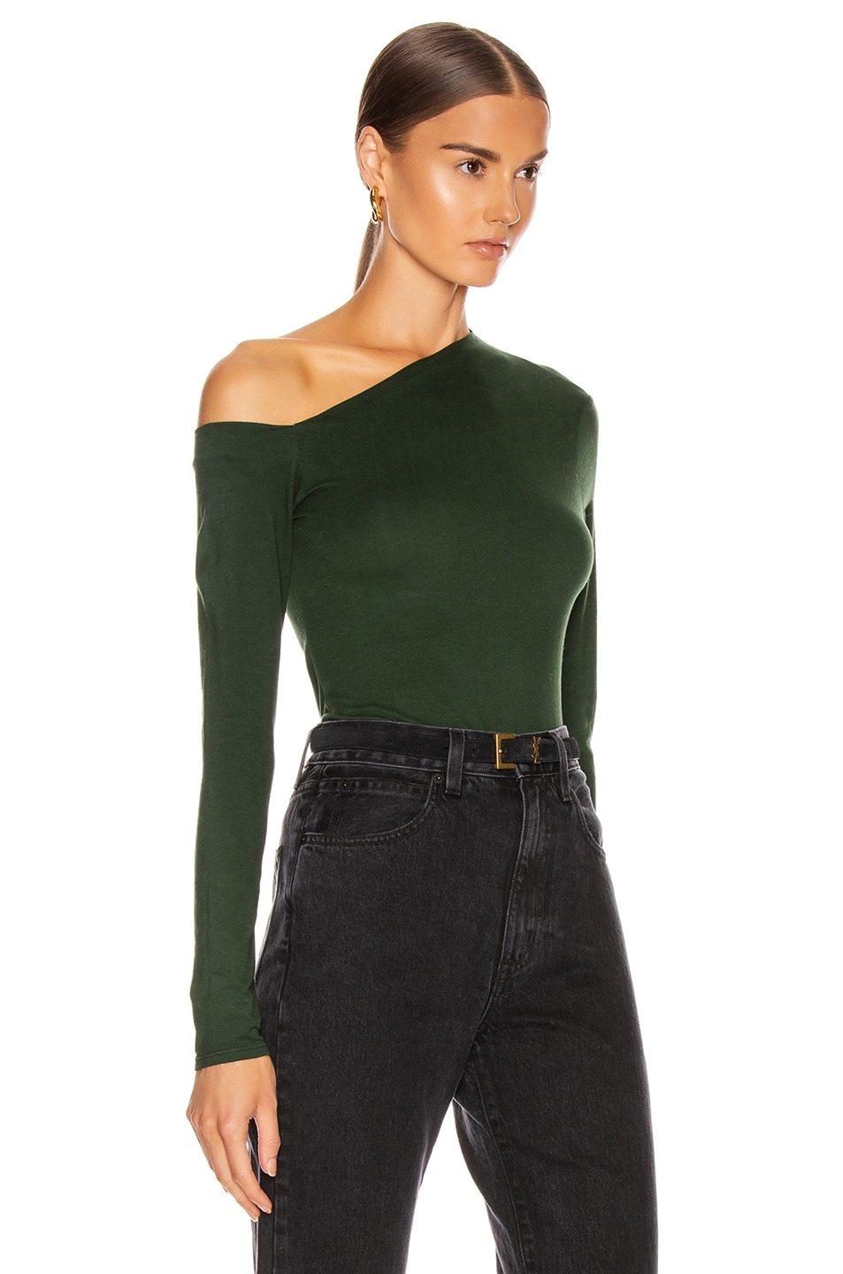 Image 2 of Enza Costa Angled Exposed Shoulder Long Sleeve Top in Evergreen