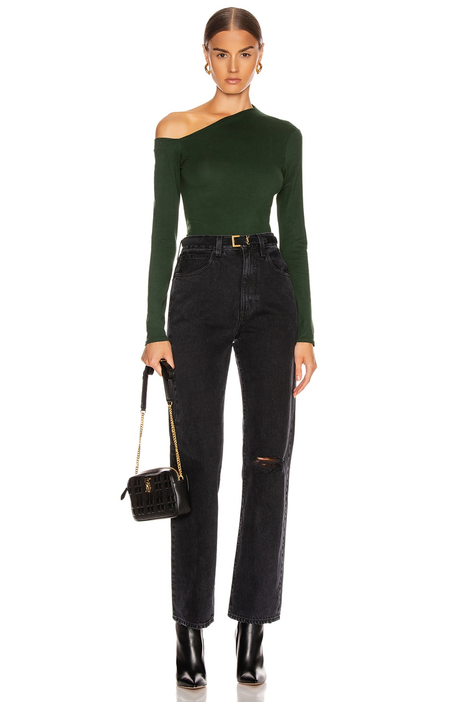 Image 4 of Enza Costa Angled Exposed Shoulder Long Sleeve Top in Evergreen