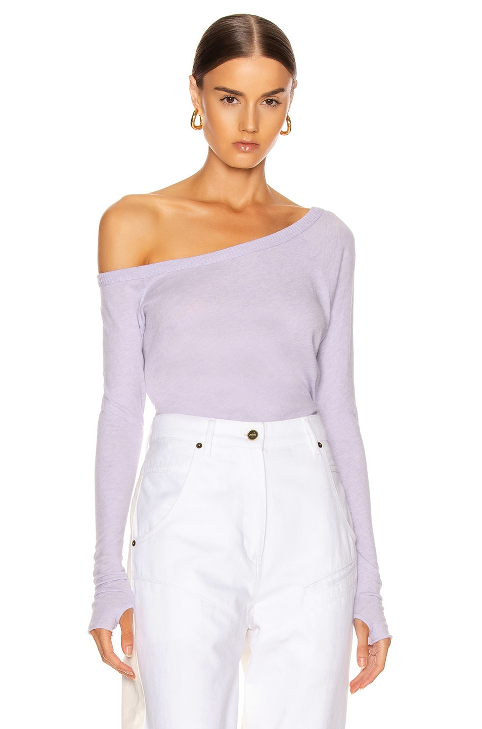 Image 1 of Enza Costa Cashmere Off Shoulder Long Sleeve in Iris
