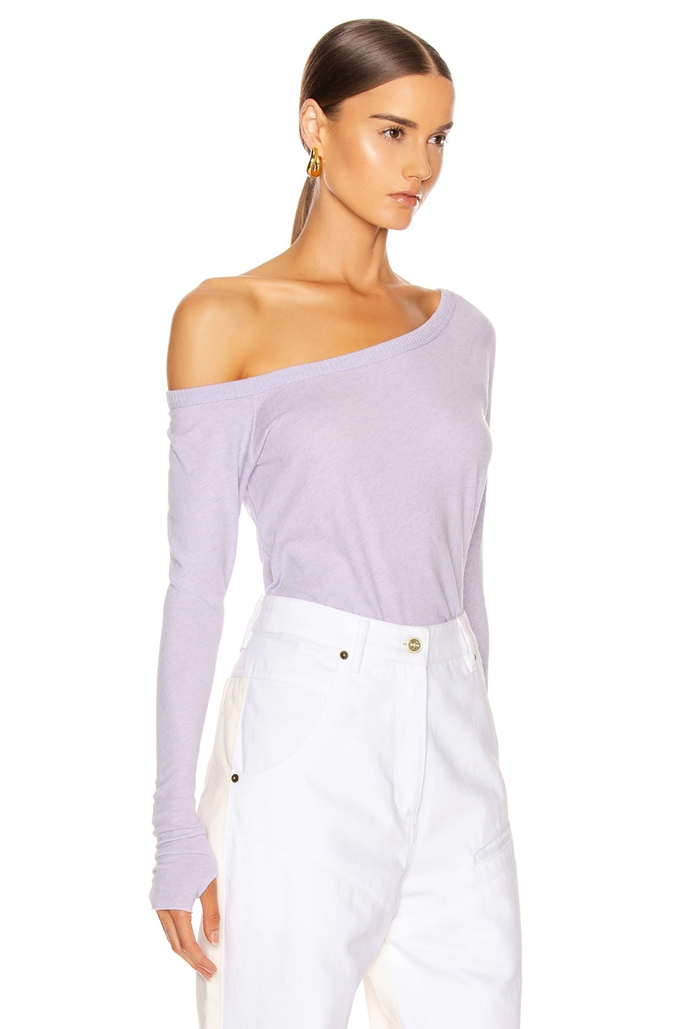 Image 2 of Enza Costa Cashmere Off Shoulder Long Sleeve in Iris