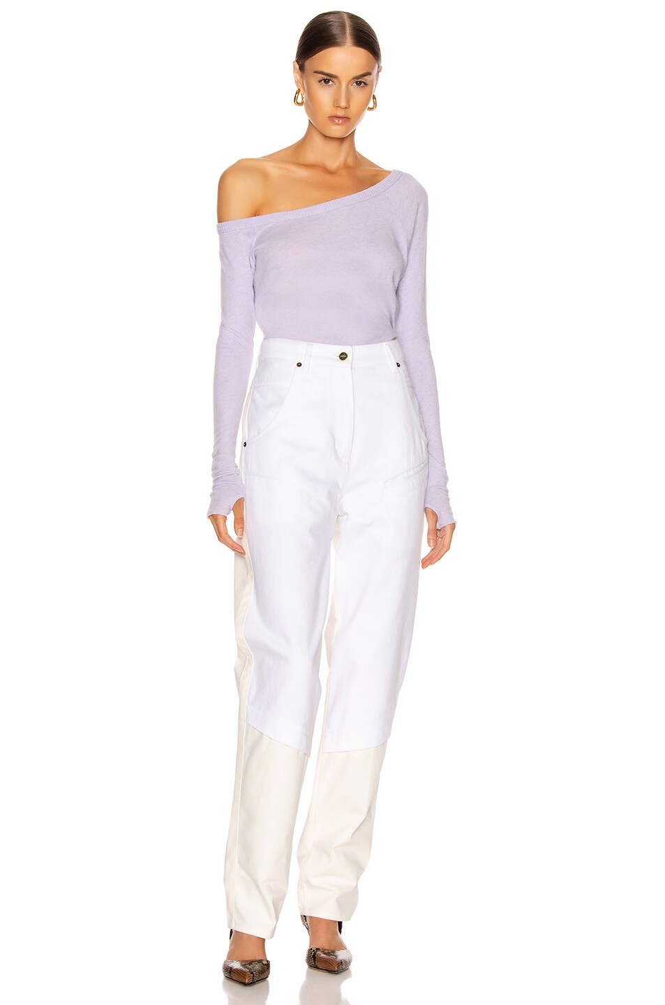 Image 4 of Enza Costa Cashmere Off Shoulder Long Sleeve in Iris