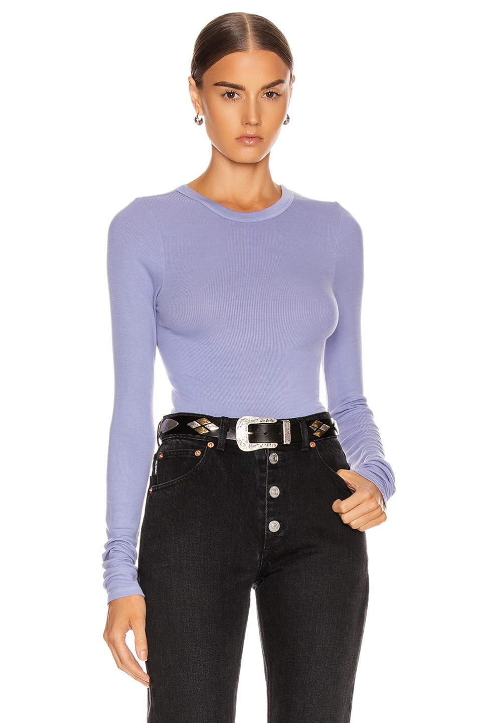 Image 1 of Enza Costa Rib Fitted Long Sleeve Crew Top in Mid Blue