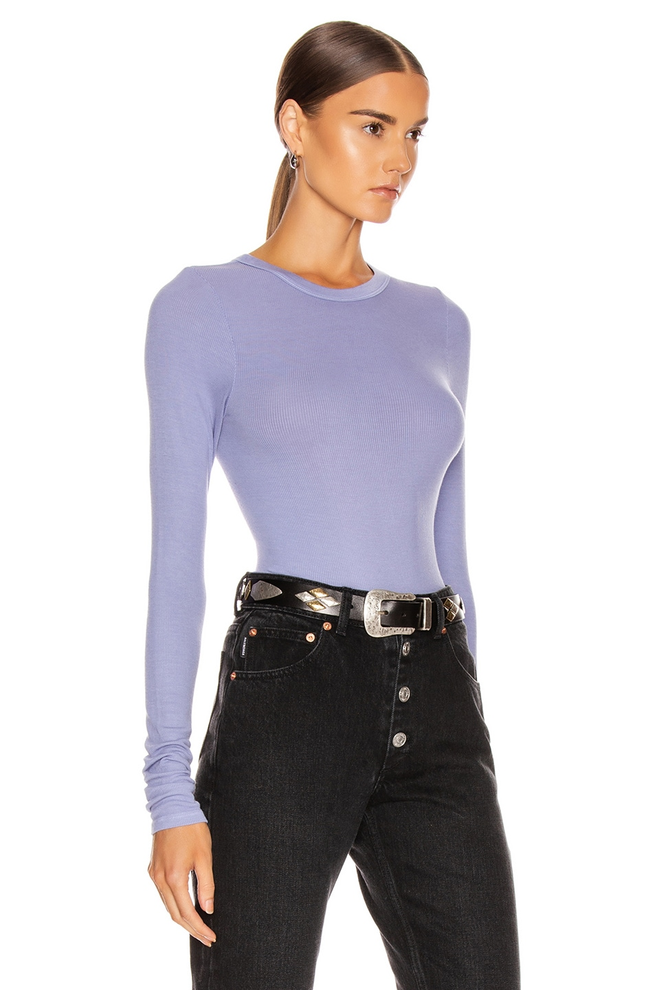 Image 2 of Enza Costa Rib Fitted Long Sleeve Crew Top in Mid Blue