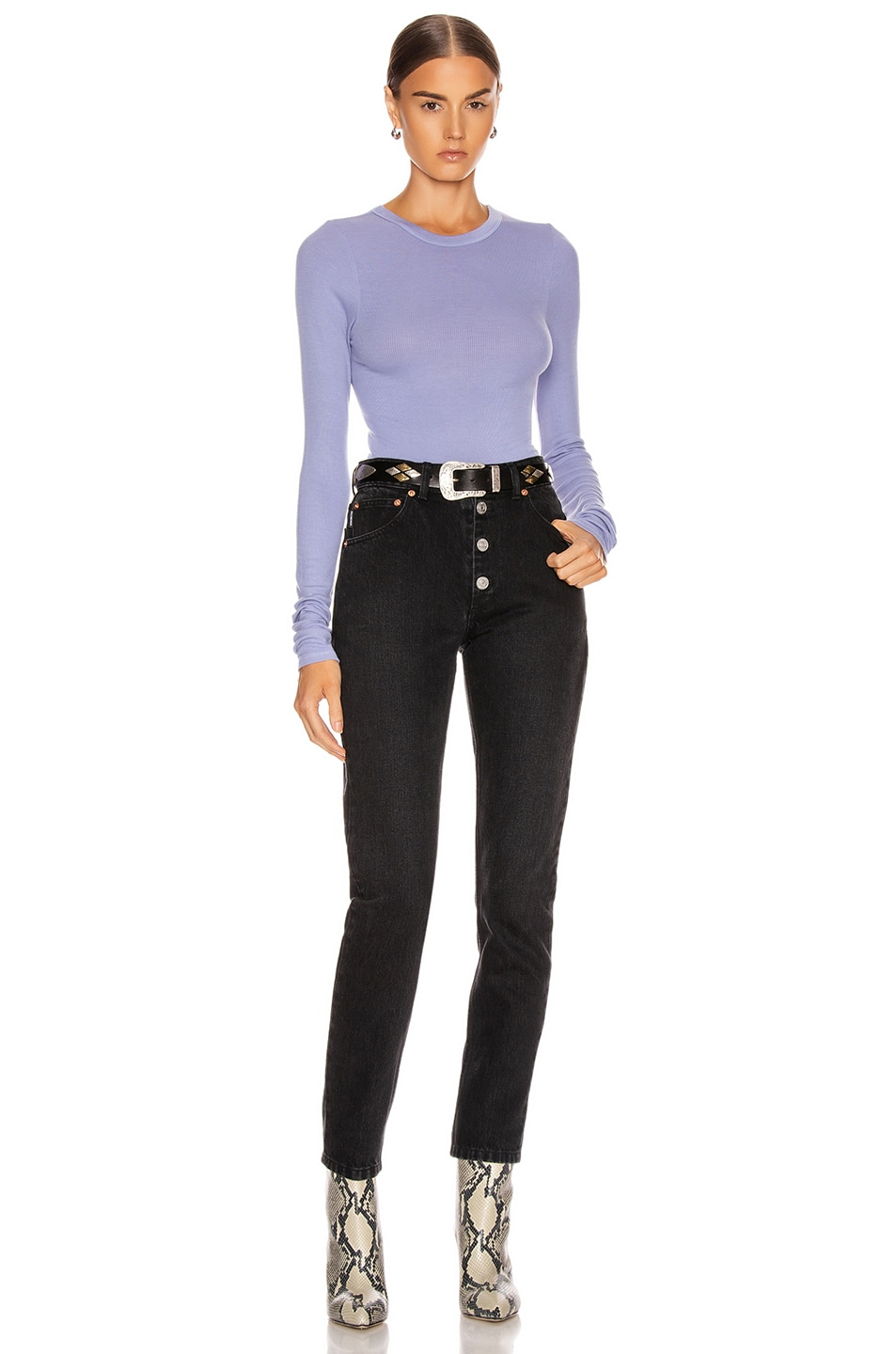 Image 4 of Enza Costa Rib Fitted Long Sleeve Crew Top in Mid Blue