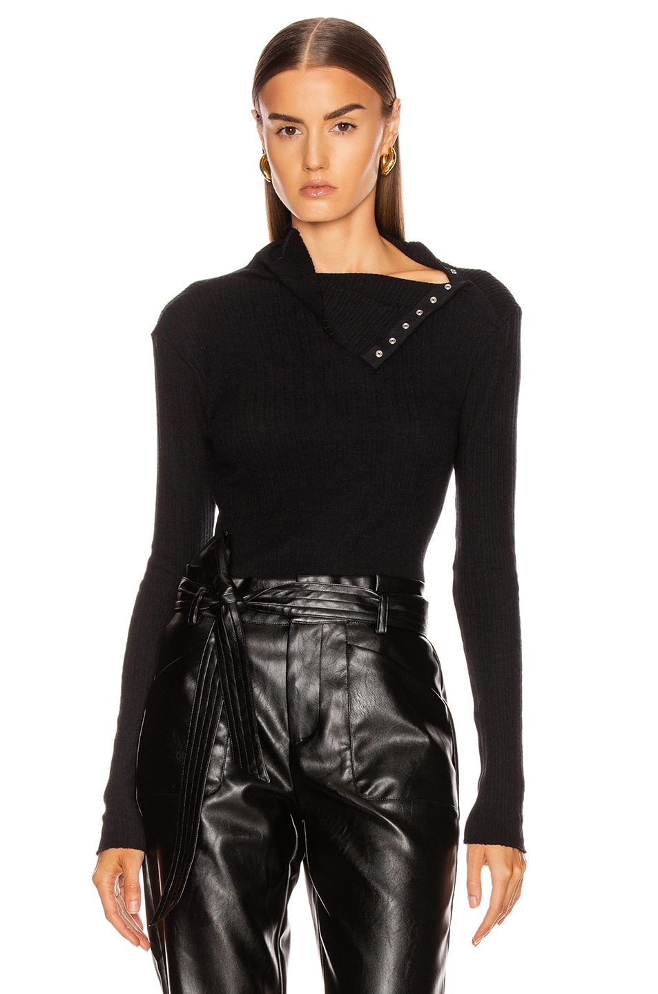 Image 1 of Enza Costa Brushed Rib Split Collar Long Sleeve Top in Black