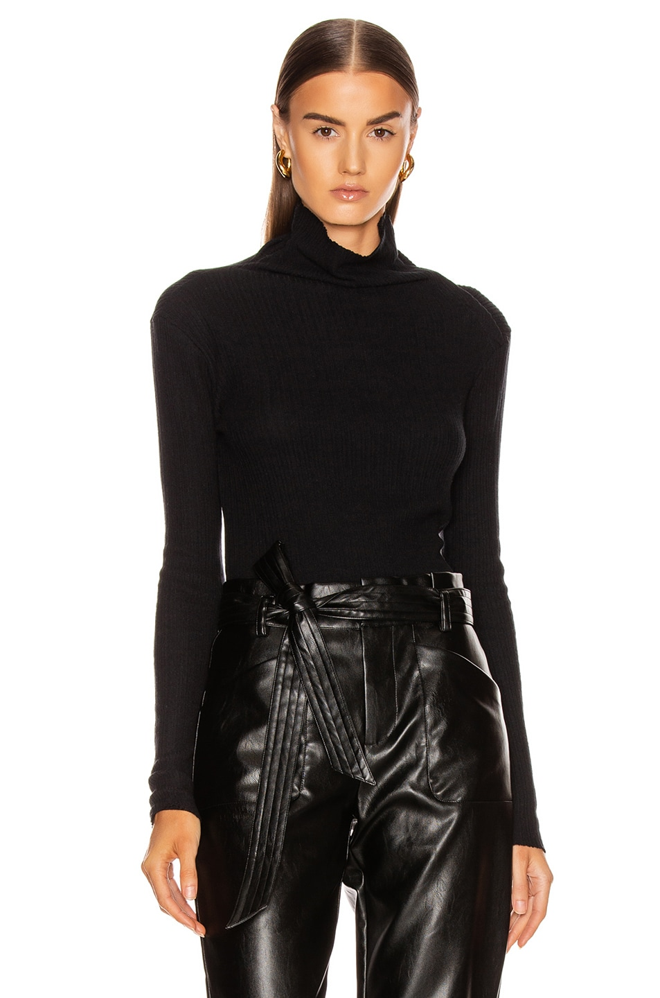 Image 2 of Enza Costa Brushed Rib Split Collar Long Sleeve Top in Black