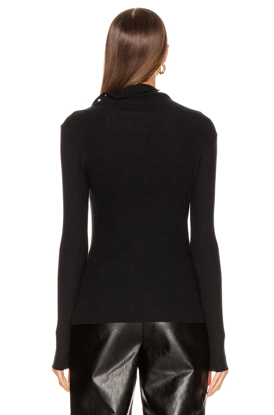 Image 5 of Enza Costa Brushed Rib Split Collar Long Sleeve Top in Black