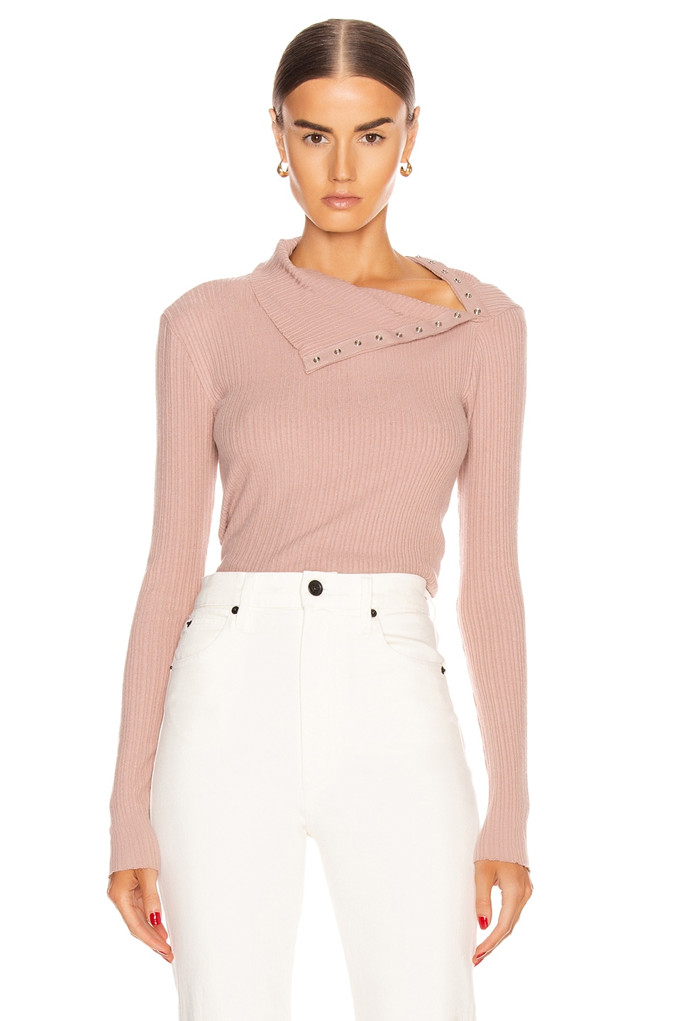 Image 2 of Enza Costa Brushed Rib Split Collar Long Sleeve Top in Plastic Pink