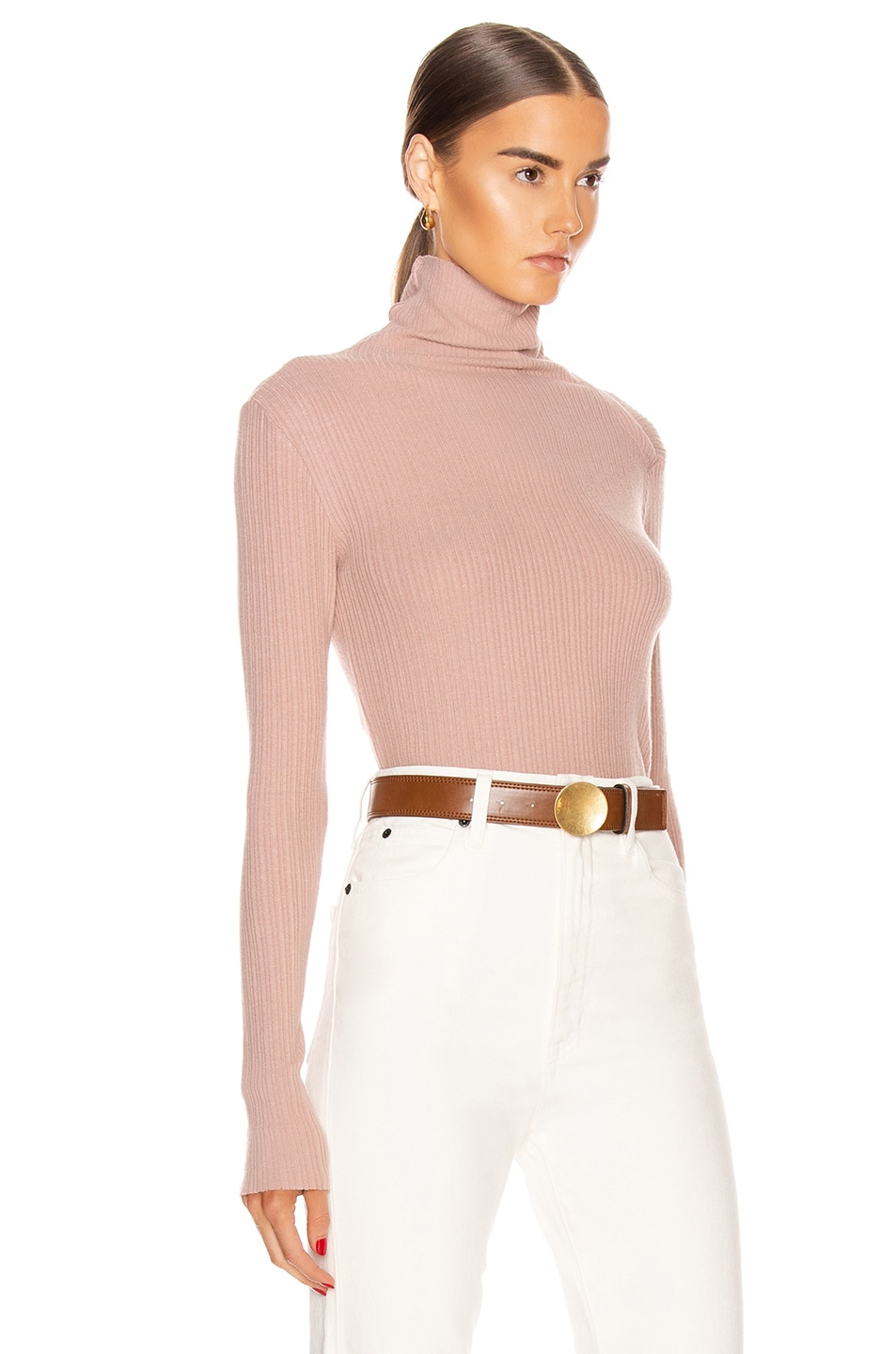 Image 3 of Enza Costa Brushed Rib Split Collar Long Sleeve Top in Plastic Pink