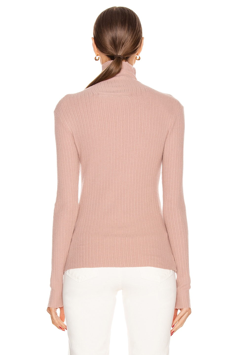 Image 4 of Enza Costa Brushed Rib Split Collar Long Sleeve Top in Plastic Pink