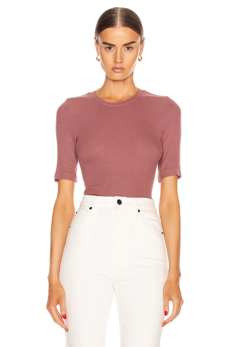Image 1 of Enza Costa Silk Rib Fitted Half Sleeve Crew Tee in Woodrose