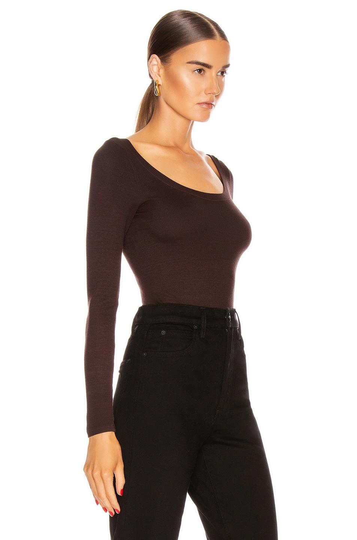 Image 2 of Enza Costa for FWRD Silk Rib Long Sleeve Scoop Top in Bitter Brown