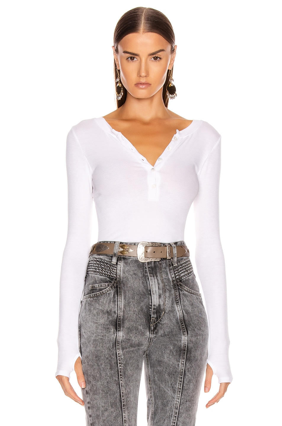 Image 1 of Enza Costa Silk Rib Long Sleeve Henley Top in White