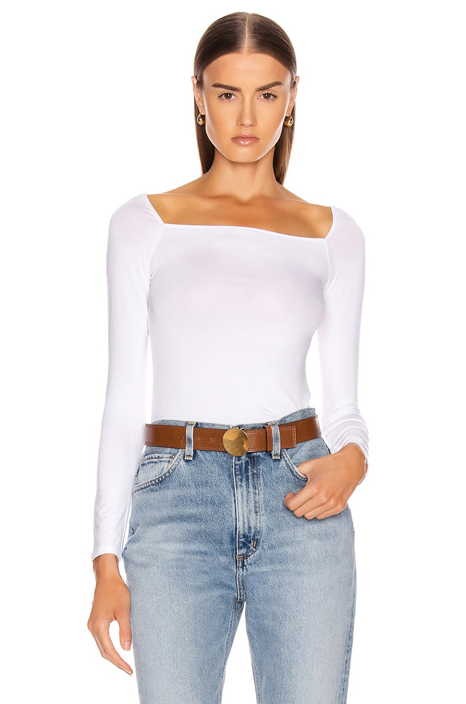 Image 1 of Enza Costa Italian Viscose Long Sleeve Square Neck Top in White