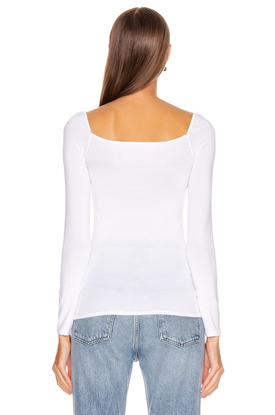 Image 3 of Enza Costa Italian Viscose Long Sleeve Square Neck Top in White