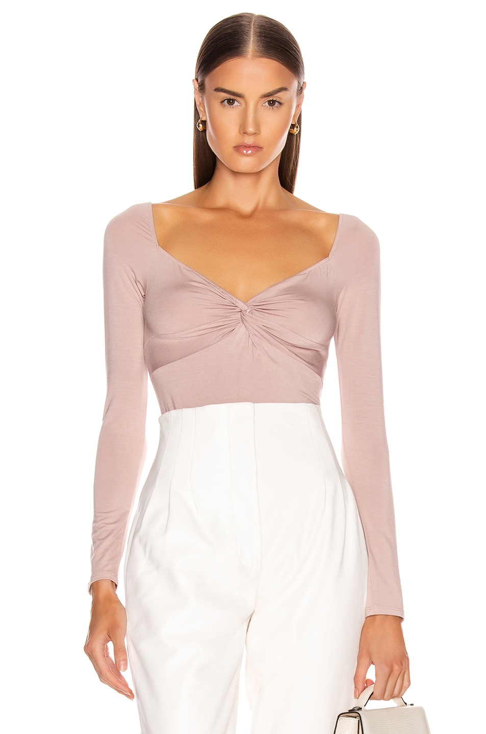 Image 1 of Enza Costa Italian Viscose Front Knot Long Sleeve Bodysuit in Plastic Pink