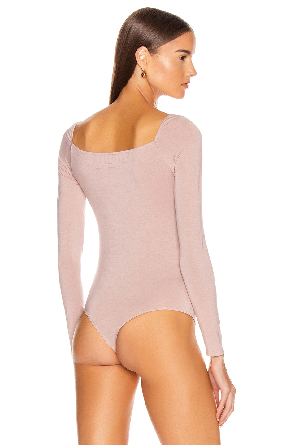 Image 4 of Enza Costa Italian Viscose Front Knot Long Sleeve Bodysuit in Plastic Pink