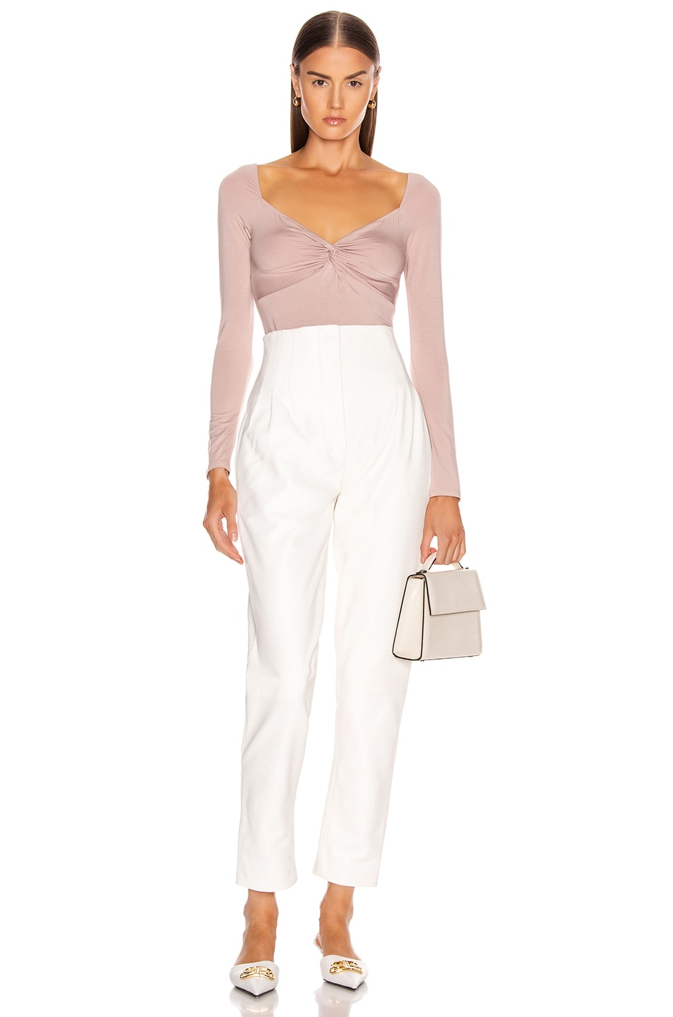 Image 5 of Enza Costa Italian Viscose Front Knot Long Sleeve Bodysuit in Plastic Pink