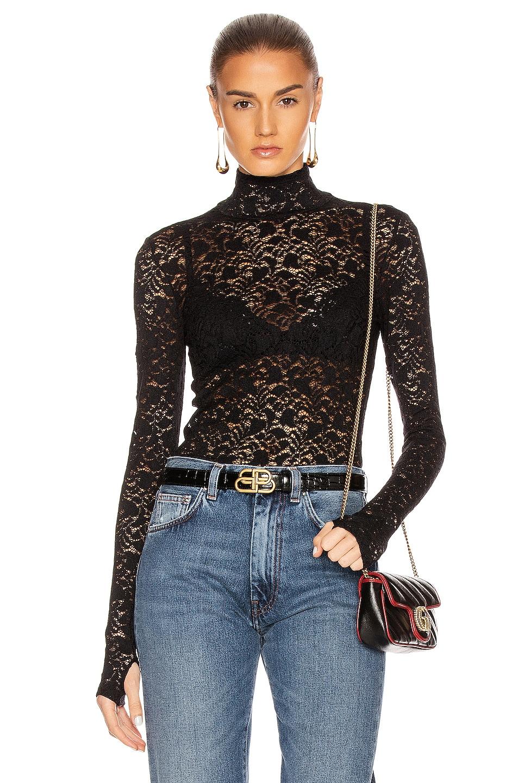 Image 1 of Enza Costa Lace Back Zip Long Sleeve Turtleneck Top in Black