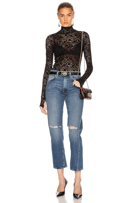 Image 4 of Enza Costa Lace Back Zip Long Sleeve Turtleneck Top in Black
